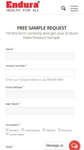 Endura Mass Gainer Free Sample Signup
